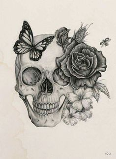 Skulls and Skeletons: Skull with Flowers and Butterfly.