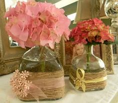 Glass bottles wrapped in twine