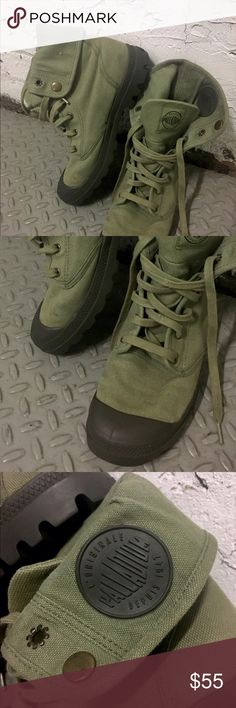 Army Green Canvas Boots by Palladium You can wear these Army green tone canvas rubber toe boots all the way laced up or with a flip. Tiny BBs stuck in heel of shoe. Have been worn a few times. Palladium Shoes Lace Up Boots