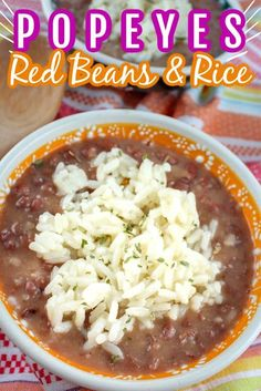 Popeye s Red Beans Rice is one of my favorite take-out side dishes and making it at home is SO SIMPLE Creamy red beans with a slightly smoky flavor topped with fluffy white rice copycatrecipe redbeansandrice Easy Rice Recipes, Rice Recipes For Dinner, Bean Recipes, Side Dish Recipes, Mexican Food Recipes, Arabic Recipes, Easter Recipes, White Rice Recipes, Haitian Recipes