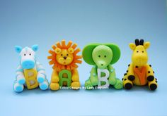 4 Edible Fondant Baby Jungle Animals Cake by EdibleDesignsByLetty, $40.00