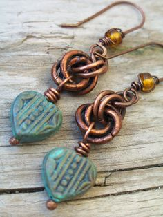 Heart Earrings Turquoise Copper Verdigris with Chestnut Knots and Copper Kidney Earwires