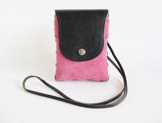 Vintage  Crossbody Bag  Pink Suede Bag  Pink by funkyvintage780