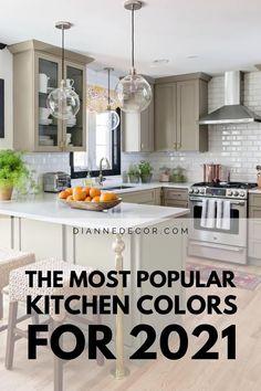 Popular Kitchen Colors, Kitchen Color Trends, Colorful Kitchen Decor, Home Decor Kitchen, Kitchen Design, Kitchen Cabinet Color Schemes, Best Kitchen Cabinet Paint, Redo Kitchen Cabinets, Kitchen Hardware Trends