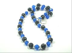 Blue Black Beaded Necklace Muliti Color Necklace by cynhumphrey, $18.99