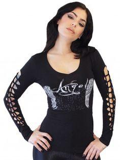 """Women's """"Angel"""" Slashed Long Sleeve Tee by Demi Loon (Black) $33.95"""