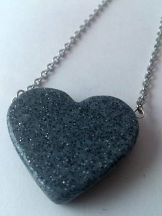 Granite polymer clay heart pendant necklace by eliqueang on Etsy, $15.00