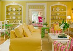 Living Room, Inspiring Yellow Living Room With A Modern Funk Vibe And Gold Carpet Shades Of Yellow For A Golden Interior Also Yellow Room Or. Living Room Colors, My Living Room, Living Room Designs, Living Spaces, Interior Design Inspiration, Decor Interior Design, Room Interior, Yellow Color Combinations, Yellow Interior