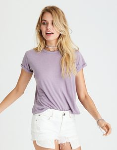 AEO CLASSIC COTTON T-SHIRT - Lively Lilac