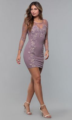 Shop short party dresses with sleeves at Simply Dresses. Bodycon dresses, illusion-sweetheart dresses, and scoop-neck semi-formal dresses with illusion mesh, sheer sleeves, and lace-applique details. Party Dresses With Sleeves, Tight Dresses, Short Dresses, Sexy Dresses, Nice Dresses, Girls Dresses, Formal Dresses, Hot Dress, Lace Dress