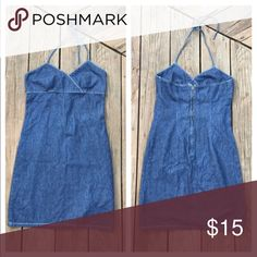 FINAL PRICE Vintage Denim Halter Dress Empire Waist Halter  Triangle Top No tags, fits like a Medium Dresses