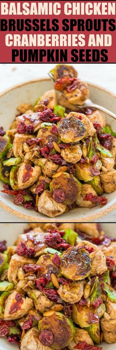 Balsamic Chicken, Brussels Sprouts, Cranberries and Pumpkin Seeds - EASY, hearty, HEALTHY, one-skillet dish that's ready in 20 minutes!! Juicy chicken, crisp-tender sprouts, chewy cranberries and crunchy pumpkin seeds!!