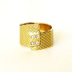 18K solid gold  ring Diamond Ring Gold Pinkie Ring by RuthaJewelry, $915.00