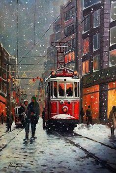 Turkish Artist Kerim Yavuz ~ Red Tram In The Snow