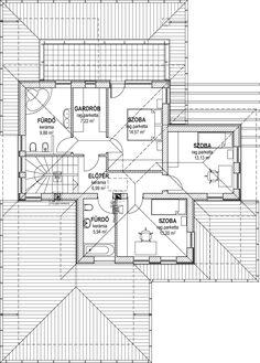Emeletes családi ház 227 m2 | Családiházam.hu Design Case, Diy Home Decor, House Plans, Floor Plans, Flooring, How To Plan, Homes, Type, Architecture