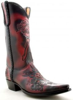 Mens Old Gringo Pirate Boots Black/Red - A pair I'd be fine with!