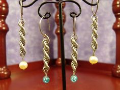 Argentium Sterling Silver Long Spiral 6-in-1 Chainmaille Earrings with Single Bead Drops