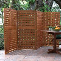Yard Privacy Screens-Privacy Patio Screen-Outdoor Wood Privacy Screens - great option for a condo with a front yard where you can't install permanent fencing. Hot Tub Privacy, Outdoor Privacy Panels, Patio Privacy Screen, Privacy Fence Designs, Privacy Walls, Backyard Privacy, Privacy Screens, Backyard Bbq, Privacy Fences