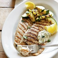 Grilled Trout with Garden Zukes and Herb Aïoli    Save time by cooking your whole meal in one place—the grill. Timesaver tip: Trout fillets are flavorful on their own, so you only need to add fresh lemon and a bit of seasoning.