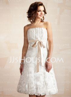 A-Line/Princess Scalloped Neck Knee-Length Charmeuse Lace Wedding Dress With Ruffle Sashes (002011527) - JJsHouse