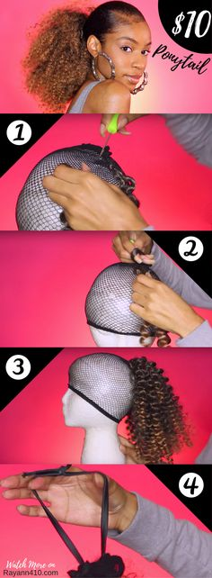 Here's my $10 DIY Drawstring Ponytail for Natural Hair. This $10 DIY Drawstring Ponytail is a quick fix for a bad hair day or pop of color with literally no damage to your own natural hair! #naturalhairstyles