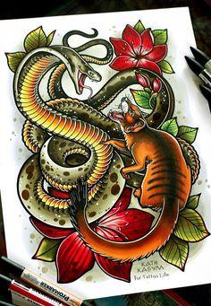 Tattoo Мангуст и кобра - tattoo's photo In the style Illustrations, Snak Temporary Tattoo Designs, Temporary Tattoos, Tattoo Sketches, Tattoo Drawings, Tattoo Art, Kobra Tattoo, Live Tattoo, Cobra Art, Writing Tattoos