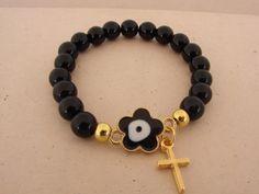 Black gold Glass bead Evil Eye Bracelet Greek Mati with cross by ForThatSpecialDay on Etsy