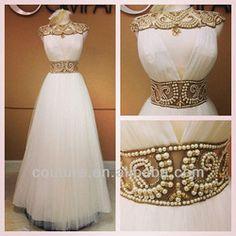Edm-0117 2014 Fashion Designer Dress Pearls Neckline Sash African Evening Dresses - Buy African Evening Dresses,Pearls Neckline Sash Evening...