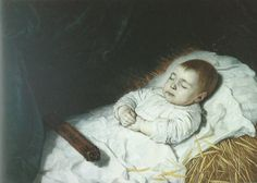 Baby boy on his deathbed dressed in white linen shroud. Signed by Bartholomeus van der Helst and dated 1645. He lies on a layer of straw (burned after the burial) -- a superstitious practice to protect the bed from contamination by the soul of the deceased.  and allow it to be re-used. The stick is an (allegorical) extinguised torch. Gouda, Stedelijk Museum Het Catharina Gasthuis