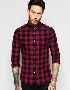 6f66d4d14ac8 ASOS Skinny Shirt In Burgundy Buffalo Check at asos.com
