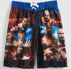 John Cena, The Rock, Randy Orton, CM Punk. New boy's WWE Swim Trunks. Rey Mysterio and Triple H. Trunks have WWE Wrestlers on the front and back. Size is Boy's Extra Large Care: Machine wash. Wwe Birthday, Wwe Shirts, Boys Swim Trunks, Cm Punk, Randy Orton, Boy Character, Triple H, Dale Earnhardt Jr, European Football