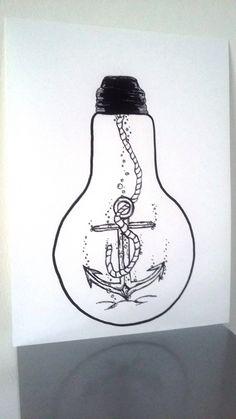 """Affiche Illustration Noir et blanc ampoule """" ancrez vos rêves """" : Dessins par stefe-reve-en-feutrine"""