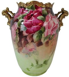 One Kings Lane Vintage Hand-Painted French Roses Vase