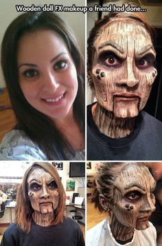 Funny pictures about Perfect Wooden Doll Makeup. Oh, and cool pics about Perfect Wooden Doll Makeup. Also, Perfect Wooden Doll Makeup photos. Makeup Fx, Scary Makeup, Movie Makeup, Awesome Makeup, Makeup Eyes, Special Makeup, Special Effects Makeup, Halloween Kostüm, Halloween Face Makeup