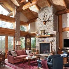 Handcrafted Log Cabin Great Room
