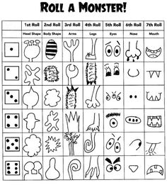 Das Artsy Fartsy Art Zimmer: Roll-A-Monster - kunst grundschule Drawing Games For Kids, Art For Kids, Crafts For Kids, Halloween Activities, Learning Activities, Activities For Kids, Art Classroom, Elementary Art, Teaching Art