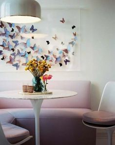 Paper butterflies. Easy and looks cool on the wall like this. DIY paper crafts for kids / children.