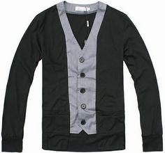 Men Fashion Easy Matching Long Sleeve Slim Design Pattern Black Cotton Cardigan M/L/XL@S5-107-1b