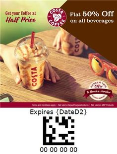 Costa Coffee - India Costa Coffee, Half Price, Beverages, Coupon, India, Goa India, Costa Cafe, Coupons, Indie
