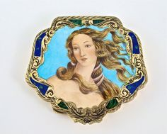 """1940s Italian compact, enameled and engraved silver, bevel mirror, strainer. Detail from the Botticelli painting """"The Birth of Venus."""" 3 in. widest."""