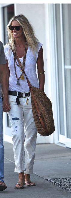 Elle Macpherson Cuffed White Jeans