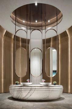 矩阵纵横|信业阳光城·佛山半岛-建e室内设计网-设计案例 Washroom Design, Toilet Design, Bathroom Interior Design, Interior Decorating, Green Apartment, Public Bathrooms, Lobby Design, Home Decor Furniture, Rustic Furniture