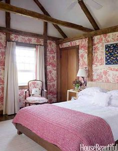 Tom Scheerer - The guest room in a 18th c. Long Island house takes its French Provincial flavor from Quadrille's Lafayette toile de Jouy on the walls.