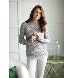 Hahana - this long-sleeve crochet jumper features an overall lace pattern. It has a casual yet stylish look and is worked in Summerlite one of our summery cotton yarns. It was designed by Lisa Richardson. Crochet Jumper Pattern, Cotton Crochet Patterns, Jumper Patterns, Crochet Shirt, Lace Patterns, Crochet Cardigan, Crochet Yarn, Crochet Ideas, Crochet Tops