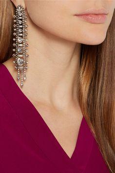 DANNIJO | Almendra oxidized silver-plated Swarovski crystal earrings | NET-A-PORTER.COM