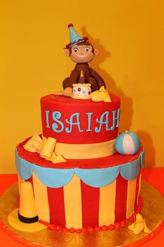 Curious George Cake Curious George Cake I recently made. Hand sculpted Curious George and accents out of fondant and gumpaste. Curious George Cupcakes, Curious George Party, Curious George Birthday, Birthday Party At Park, 1st Birthday Cakes, Birthday Cake Toppers, Birthday Ideas, Movie Cakes, Birthday Cake Pictures