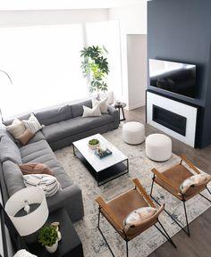 Condo Living Room, Living Room Grey, Apartment Living, Living Room Decor, Masculine Living Rooms, Masculine Home Decor, Masculine Apartment, Living Room Inspiration, Living Room Designs