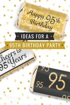 Black And Gold 95th Birthday Party Favors Mini Candy Bar Stickers