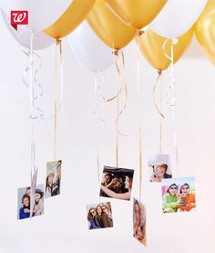 A creative way to decorate and share the memories. Fill a room with helium balloons and tape square prints to the strings. After the party, keep the photos for the perfect dorm room décor! See our Smile Blog for more graduation party ideas.