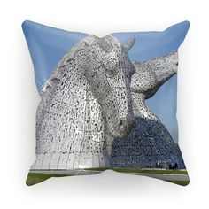 the Kelpies 1121, the Helix , Falkirk , Scotland Cushion – Photogold Scottish gifts Clydesdale Horses, Scottish Gifts, Fashion Face Mask, Original Image, Color Splash, Cotton Canvas, Scotland, Sculptures, Photo Gifts